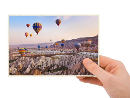 hands in the air: Cappadocia Turkey image in hand  picture  isolated on white background