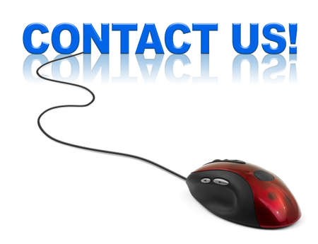 business contact: Computer mouse and word contact us - business concept Stock Photo