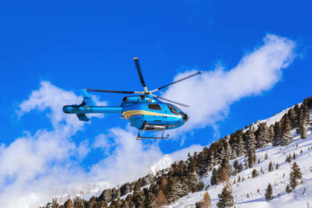 Helicopter in mountains - Obergurgl Austria - nature and transportation background photo