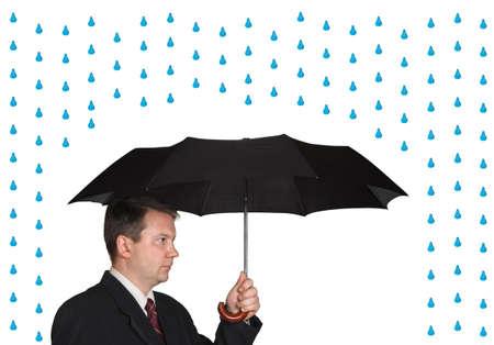 Men and umbrella isolated on white background photo