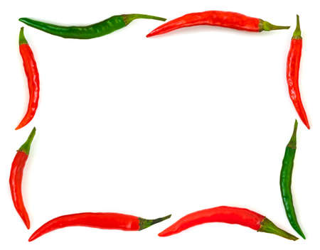 Frame made of red hot chili pepper isolated on white background photo