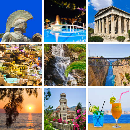 Collage of Greece travel images - nature and tourism background  my photos
