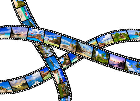 Frames of film - nature and travel  my photos  isolated on white background