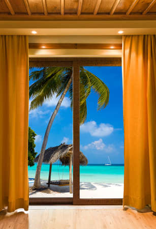 view window: Hotel room and beach landscape - vacation concept background