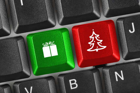 Computer keyboard with Christmas keys - holiday concept Stock Photo - 16545763