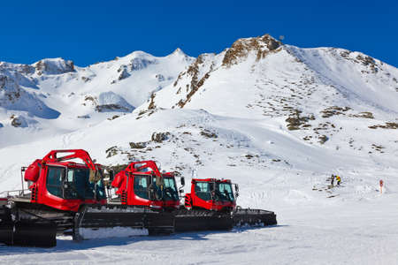 plows: Snowplow at Mountains ski resort Bad Hofgastein Austria - nature and sport background