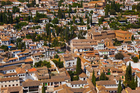 old quarter: Panorama of Granada Spain - view from Alhambra palace Stock Photo