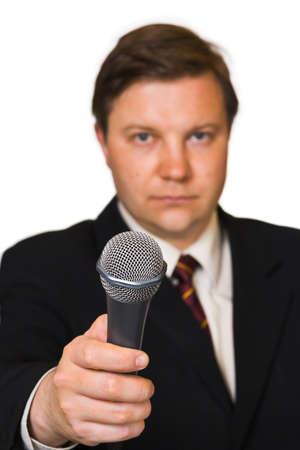 comments: Journalist with microphone isolated on white background Stock Photo