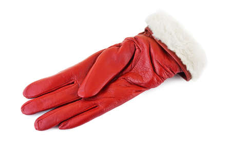 furskin: Red glove isolated on white background Stock Photo