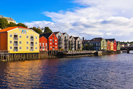 Cityscape of Trondheim, Norway - architecture background Фото со стока