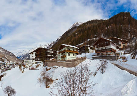Mountains ski resort Solden Austria - nature and architecture background photo