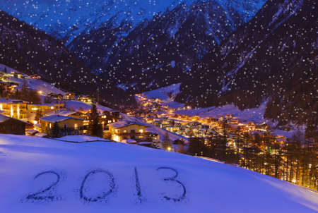 2013 on snow at mountains - Solden Austria - celebration background Stock Photo - 16886154