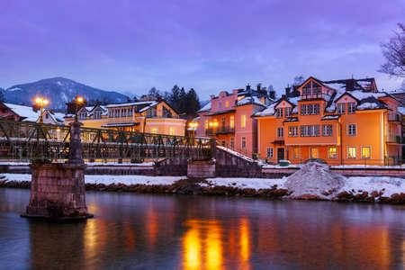 spa resort: Spa resort Bad Ischl Austria at sunset - nature and architecture background