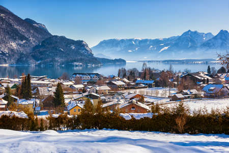 new years vacation: Mountains ski resort St  Gilgen Austria - nature and sport background