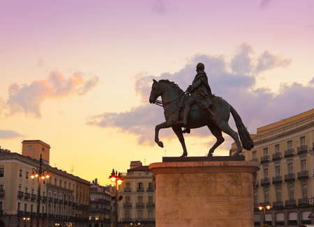 historical landmark: Statue on Sol plaza in the center of Madrid Spain Stock Photo