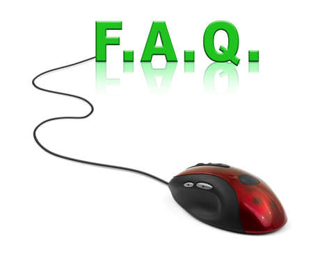 Computer mouse and word FAQ - internet concept photo