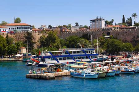 turkey beach: Old harbour in Antalya, Turkey - travel background Editorial