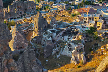 Cappadocia Turkey at sunset - travel background photo