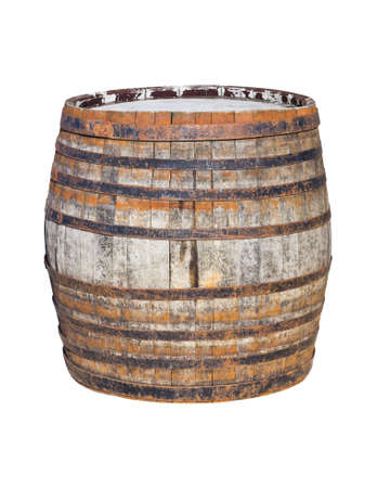Old wooden barrel isolated on white background photo
