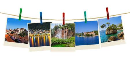 Croatia photography on clothespins isolated on white background photo