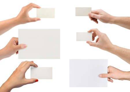 Set of hands with paper card isolated on white background Stock Photo
