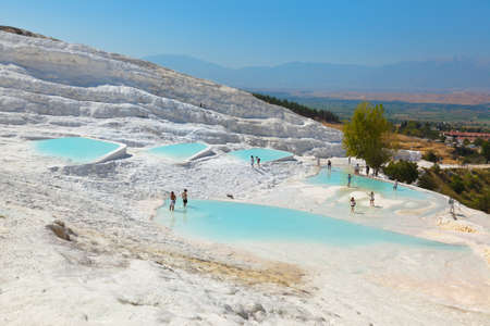 Travertine pools and terraces - Pamukkale Turkey Stock Photo - 17767649