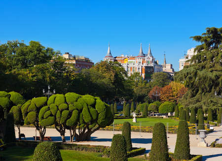 retreat: Park of the Pleasant Retreat in Madrid Spain - nature and architecture background Stock Photo