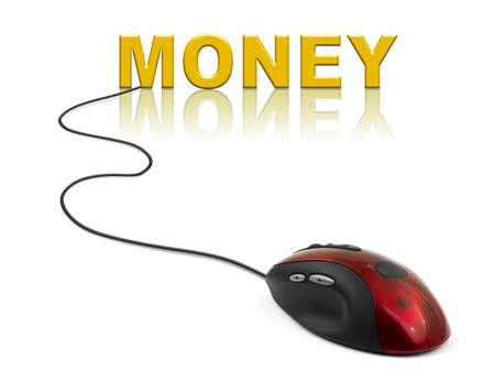 Computer mouse and word Money - business concept photo