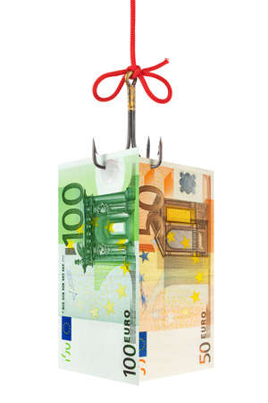 Fishing hook and money isolated on white background Stock Photo - 17768011