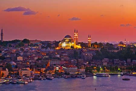 topkapi: Istanbul sunset panorama - Turkey travel background Stock Photo