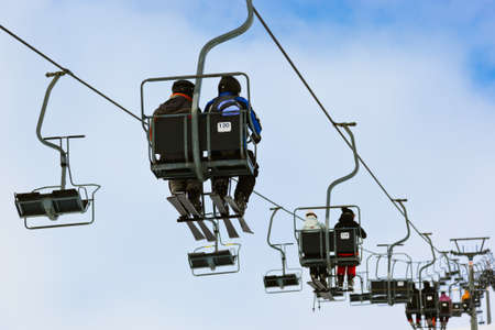 Cableway at mountains ski resort Solden Austria - nature and sport background