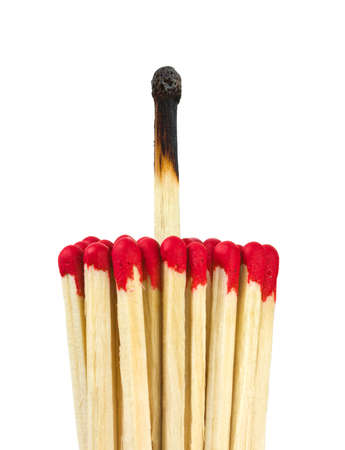 burnt wood: Matches - leadership or inspiration concept isolated on white background