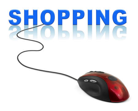 Computer mouse and word Shopping - internet concept photo