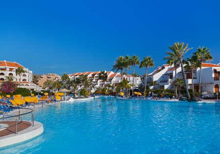 aquapark: Water pool at Tenerife island - vacation background