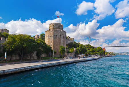 stone bridge: Rumeli Fortress at Istanbul Turkey - architecture background Editorial