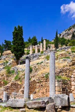 Ruins of the ancient city Delphi, Greece - archaeology background photo