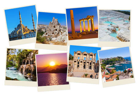 Stack of Turkey travel images - nature and architecture background  my photos  photo