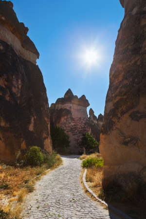 stone volcanic stones: Rock formations in Cappadocia Turkey - nature background Stock Photo
