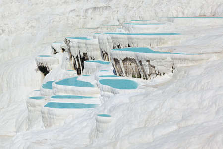 Travertine pools and terraces - Pamukkale Turkey Stock Photo - 18122561