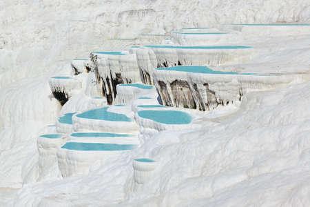 Travertine pools and terraces - Pamukkale Turkey Stock Photo - 18122561