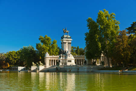 royal park: Retiro Park in Madrid Spain - nature and architecture background