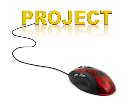 Computer mouse and word Project - technology concept photo