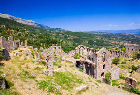 monastery nature: Ruins of old town in Mystras, Greece - archaeology background