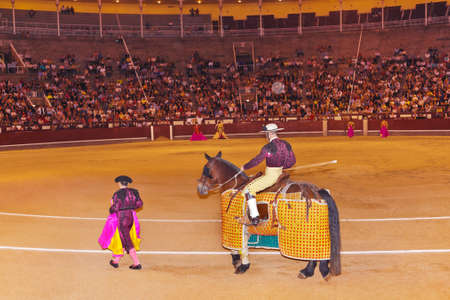 matadors: Matadors in bullfighting arena at Madrid Spain