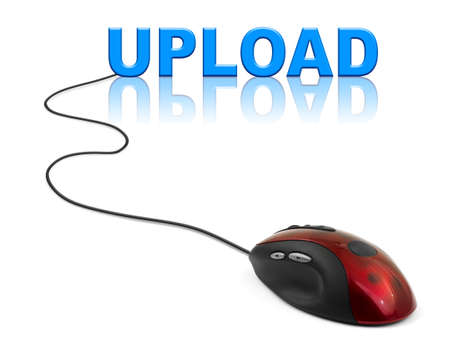 shareware: Computer mouse and word Upload - internet concept