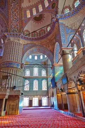 Blue mosque interior in Istanbul Turkey - architecture religion background