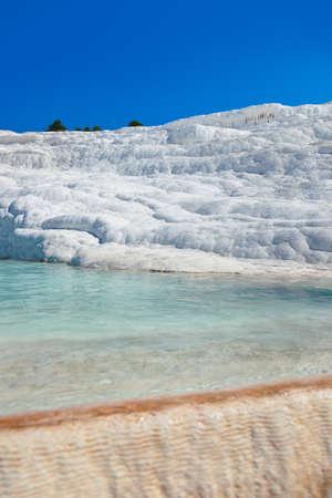 Travertine pools and terraces - Pamukkale Turkey Stock Photo - 18270452
