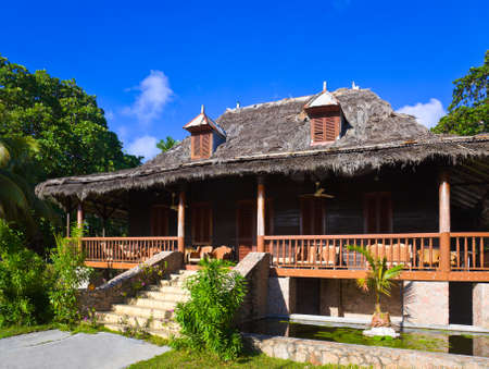 Retro colonial house at Seychelles - travel background Editorial