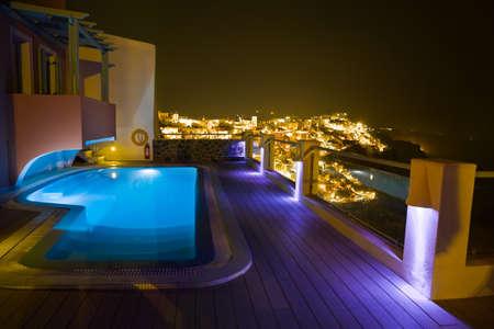 サントリーニ島の夜 - ギリシャの休暇の背景