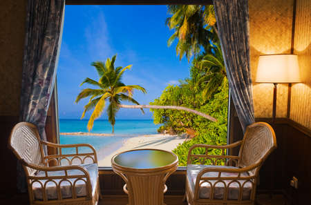 Hotel room and tropical landscape - vacation concept background Stock Photo - 18402797